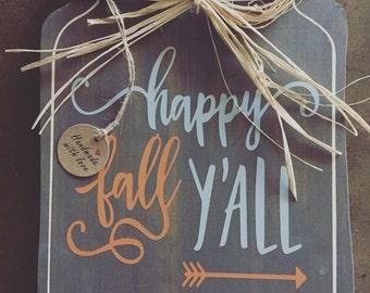 Mason jar Sign / happy fall y'all/handmade/wooden signs / Fall Decor