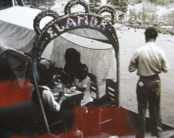 Antique 1920's Real Photo Postcard Post Card Mexico RPPC Xochimilco Boats Black & White image