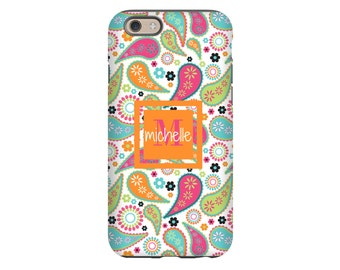 Paisley iPhone 8 case/8 Plus case, boho iPhone X case, monogram iPhone 7/7 Plus case, iPhone 6s/6s Plus case, iPhone 6 Plus case/6 case