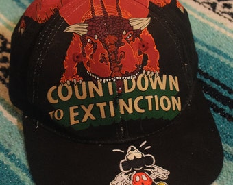 Vintage 80s 90s Walt Disney World Mickey Mouse Dinosaur Count Down to Extinction Strap Back Hat