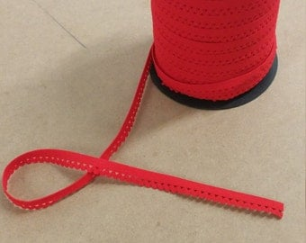 "Red scallop elastic trim - stretch 1/2"" elastic"