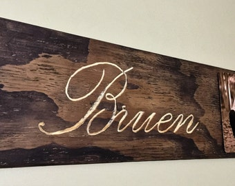 Hand Carved Wooden Sign with Family Name