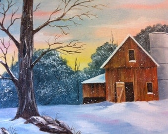 14 x 18 Origina Oil Painting.....Barn and Silo in the Snow