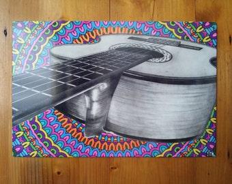 "Print drawing ""classical guitar"" background mandala on metal plate"