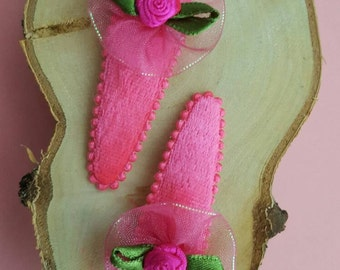 Barrettes Pink Rose