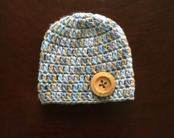Crochet blue & brown baby boy hat with light brown button