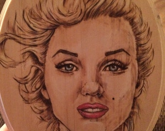 Marilyn Monroe Pyrography wood plaque