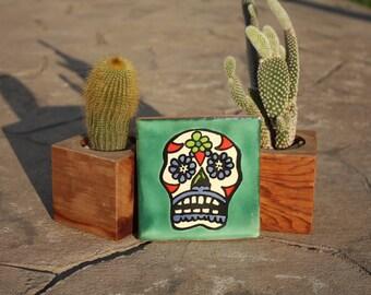 Dia de los Muertos talavera tile: Large Sugar Skull