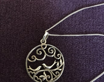 Sterling Silver Filigree Charm with Lovebirds