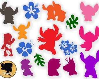 Lilo and Stitch svg, Lilo & Stitch Silhouette, Clip Art, Disney Digital Download for Silhouette Cameo or Cricut, vector
