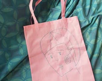 Hand sewn illustration pink tote bag