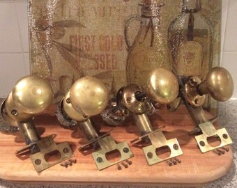 Door knobs brass and glass