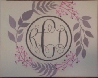 Monogram Wreath Canvas