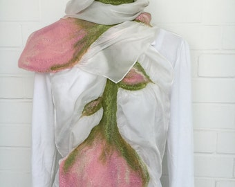 Silk scarf felt unique stole flowers white/pink