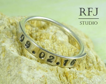 Tiny Blackened Date Ring, Customized Year Ring, Silver Personalized Handstamped Oxidized Ring, Motivational Ring, Date Jewelry Black Numbers