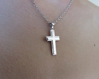 Cross  Necklace, Silver cross necklace, mens cross necklace,  womens cross necklace, christian necklace, cross pendant