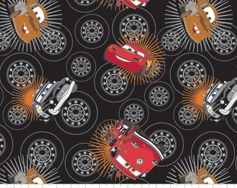 """Disney Fabric: Disney Pixar Cars Wheels in Black by Camelot  - Lightning Mcqueen and Mater Tossed 100% cotton fabric by yard 36""""x43"""" (CA322)"""