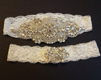 Wedding garter, Bridal Garter Set - Crystal Pearl Wedding Garter Set