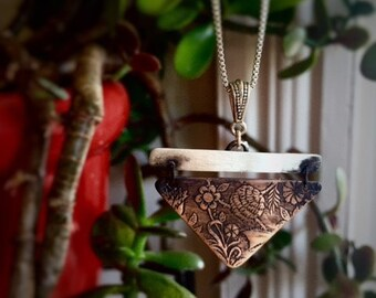 Floral Geometry- Etched Copper and Sterling Silver Pendant