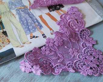 LACE - Purple  Venice Lace Appliques Trims, Accents, Venice Lace  Vintage  New Old Stock    Size: approx 6 x 5 inches