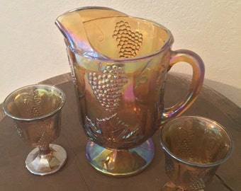 Indiana Glass Company Carnival Glass Amber Harvest Pattern Pitcher and 2 Goblets