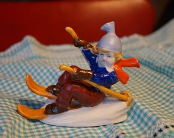 Vintage Hand Painted Made in Occupied Japan Boy Skiing Fallen Down