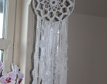 Dreamcatcher dream cathcher wall decor from Isle of Skye crochet pure white