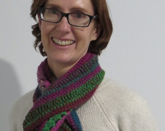 Bright Cowl/Snood Hand crocheted