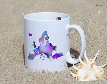 Nice Europe  Mug - Map Mug - Art Mug - White Ceramic Mug - Colorful Printed Mug - Tee Mug - Coffee Mug - Gift