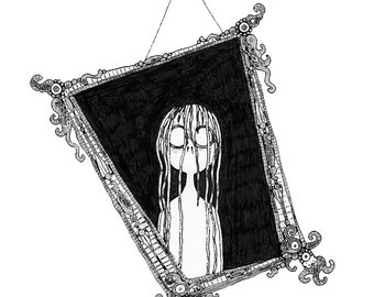 Mirror: Signed quirky and stylised illustration / art print. Creepy Macabre Fairy Tale Wall Decor