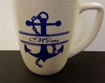 10oz White Coffee Mug with Anchor Print