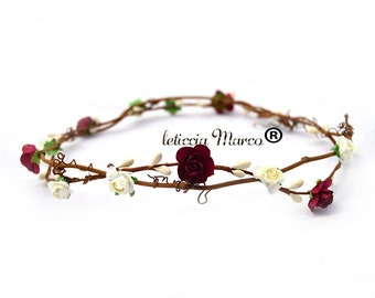 Flower crowns Wreath, roses burgundy and ivory