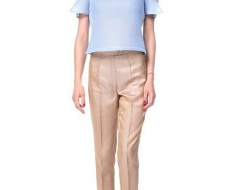 Blue mesh t-shirt and striped pants