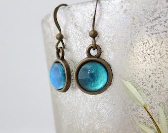 Ocean blue earrings - ocean blue shimmer earrings - ocean blue glitter earrings - ocean blue glass cabochon earrings - ocean blue vintage
