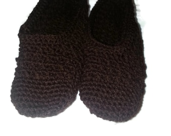 Hand crocheted brown ballet flat slippers ladies size 8/9 US ships in 24hrs