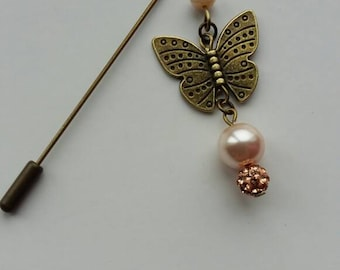 SALE!!! Bronze Tone Dangly Butterfly Hijab/Stick/Brooch Pin  Peach