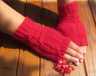 Knit Fingerless gloves, hand knitted gloves, knitted gloves, knitted mitts, Green gloves, hand knitted mittens, Gift idea, cable knit gloves