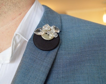 Black Lapel Pin with Silver Button, Clear Hearts & Beading