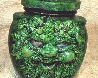 Mischievous GreenMan Jar, Mischievous Tree Spirit, Clay-on-Glass GreenMan, 6 oz Glass Jar, Clay Stash/Treasure Jar, GreenMan Keepsake