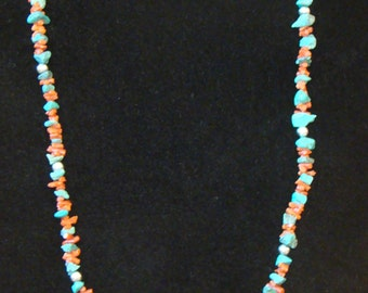 Red Coral, Turquoise and Sterling Silver Necklace