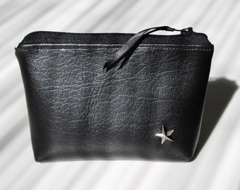 Wallet / black faux leather card holder and Star
