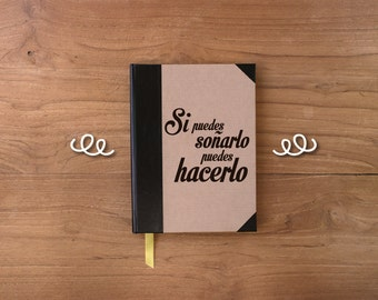 Artisan notebook with phrase 15x21cm/5.9