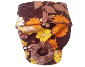 Brown and Yellow Flowers Washable Bunny Diaper Rabbit Diaper