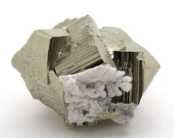 Big Pyrite Cluster with Calcite and Quartz – 772g