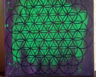 "Original Abstract Art 12"" x 12"" acrylic painting flower of life sacred geometry painting green purple"