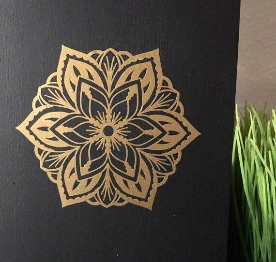 Mandala Flower Vinyl Decal Gold Mandala Sticker Hand Drawn