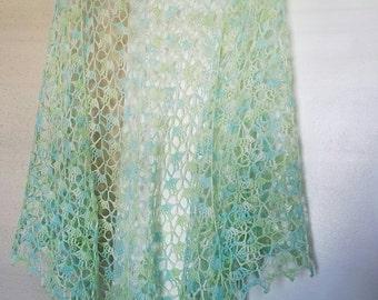 Seaspray Crochet Lace Shawl In Merino Hand Dyed Wool