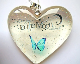 Example Love you to the moon sparkle heart keepsake resin pendant gifts for her