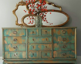 SOLD- If you are looking for a similar look to this item that is sold- contact me for custom design- Dresser/Buffet Handpainted patina