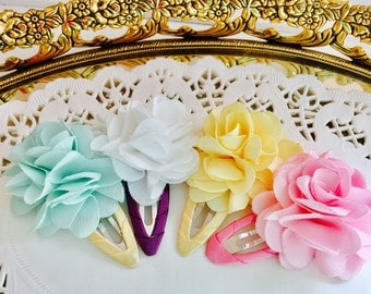 Princess girls flower ribbon snap clips baby girls hair clips baby girls snap clips baby flower snap clips
